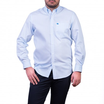 Camasa cu mâneca lunga, alb cu dungi bleu