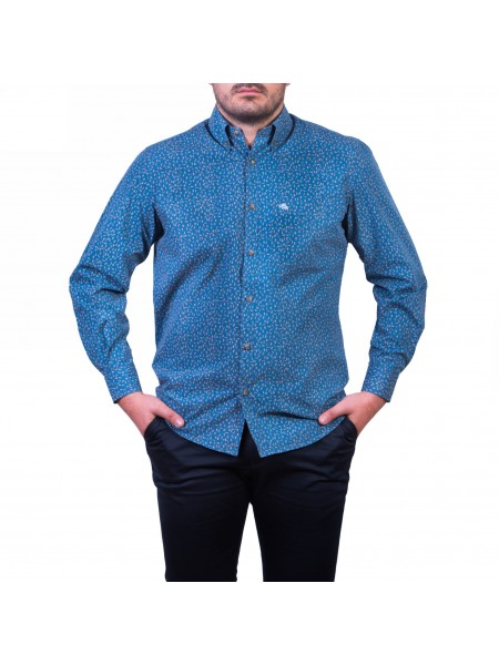Camasa cu mâneca lunga, imprimeu, albastru marin