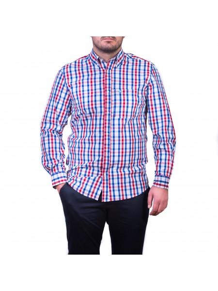 Camasa cu mâneca lunga, carouri,  albastru / roșu