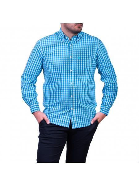Camasa cu mâneca lunga, carouri, albastru-turcoaz