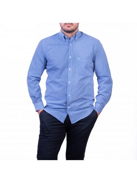 Camasa cu mâneca lunga, pepit alb/albastru