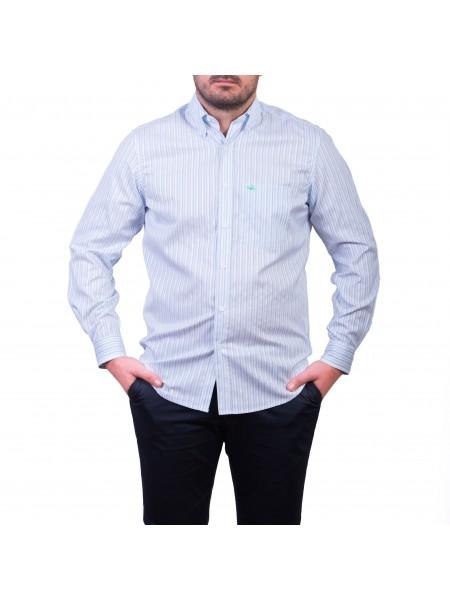 Camasa cu mâneca lunga, alb cu dungi bleu-gri
