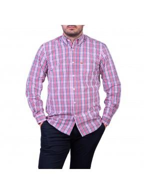Camasa cu mâneca lunga, carouri roz/grena/albastru
