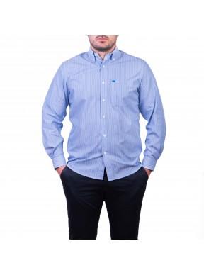 Camasa cu mâneca lunga, albastru cu dungi albe