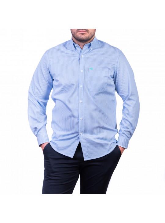 Camasa cu mâneca lunga, alb cu dungi bleu-albastru