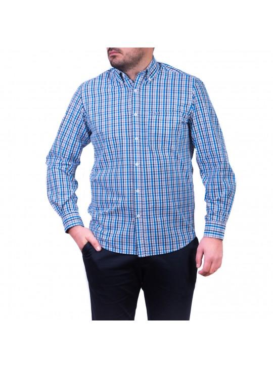 Camasa cu mâneca lunga, carouri,  gri / albastru / negru